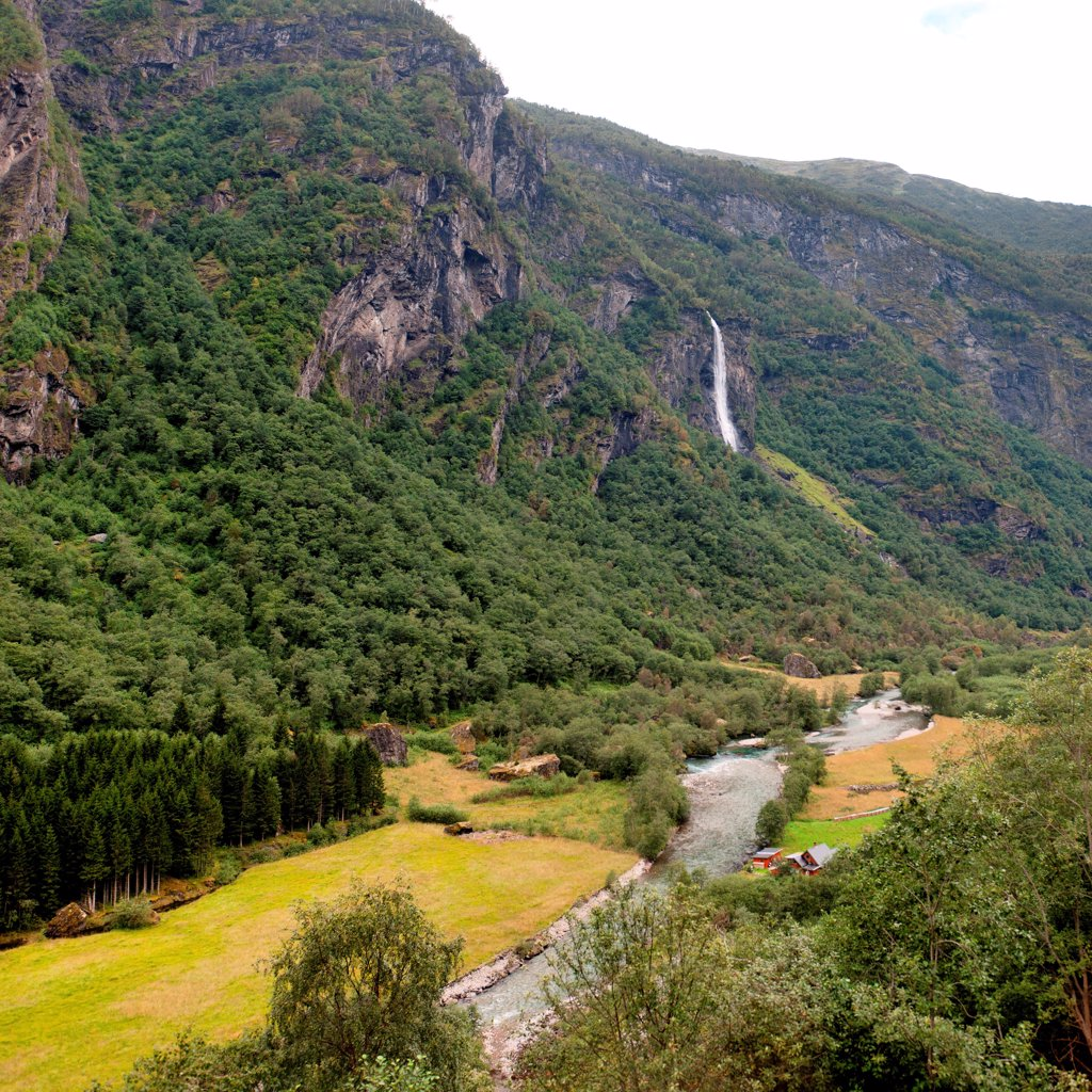 Stock Photo: 1525R-207484 Stream flowing through a landscape, Norway