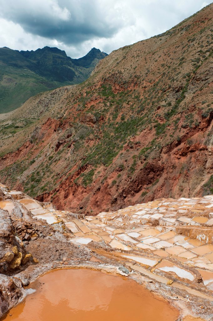 Salt pond, Maras, Sacred Valley, Cusco Region, Peru : Stock Photo