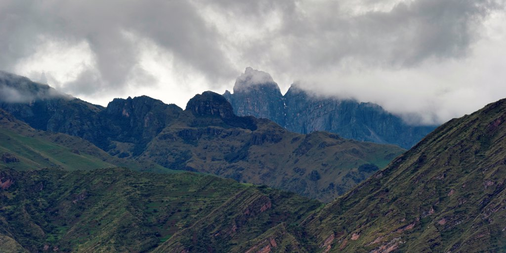 Clouds over a mountain range, Sacred Valley, Cusco Region, Peru : Stock Photo