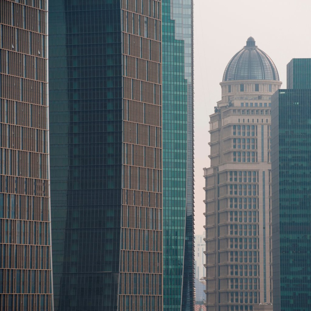 Stock Photo: 1525R-207976 Skyscrapers in a city, Pudong, Shanghai, China