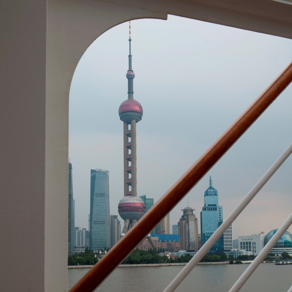 Stock Photo: 1525R-207985 Oriental Pearl Tower and city skyline, Huangpu River, Pudong, Shanghai, China