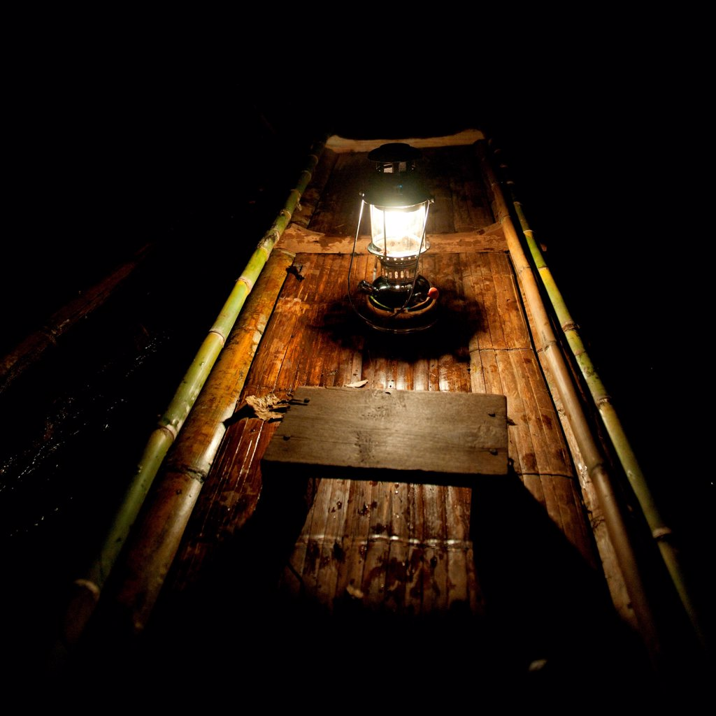 Stock Photo: 1525R-208204 Lantern on a bamboo boat, Thailand