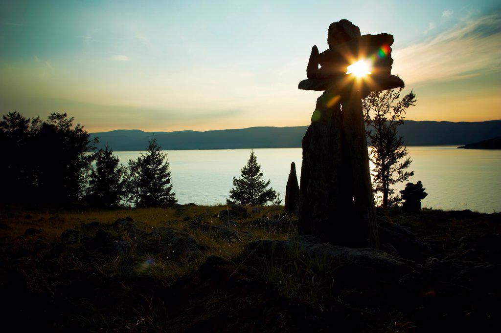 Stone landscape against a decline lake Baikal : Stock Photo