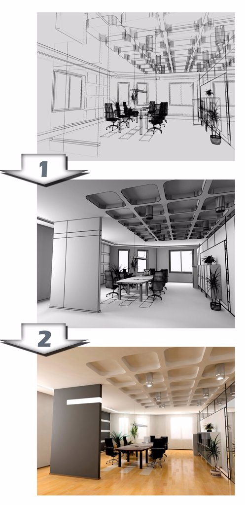 the stages of office interior CAD project : Stock Photo