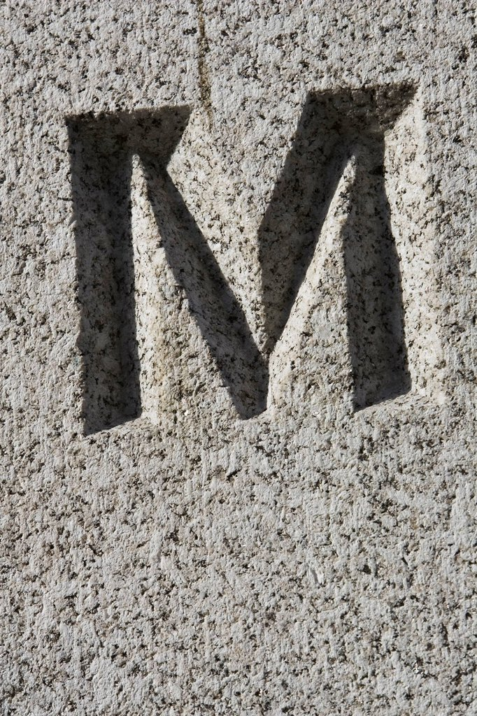 Stock Photo: 1525R-223549 Stone letter M