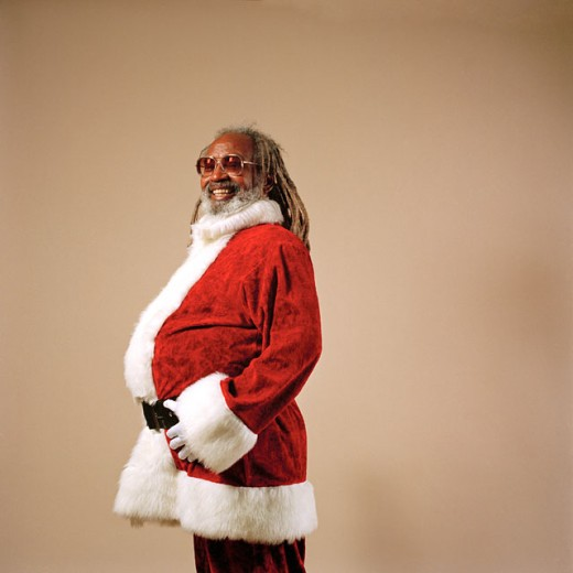 African American Santa Claus Laughing : Stock Photo