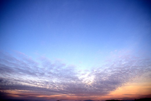 Stock Photo: 1525R-38673 Thin Clouds In A Sunset Sky