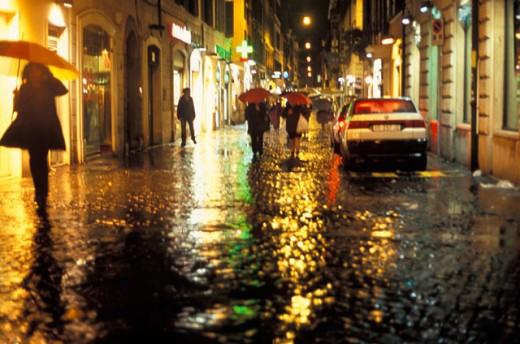 Rainy City Street : Stock Photo