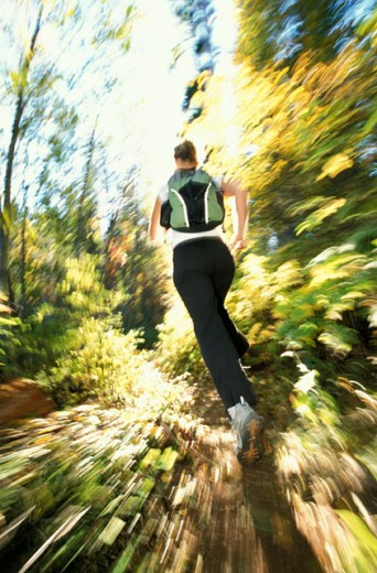 Woman Jogging Through Woods : Stock Photo
