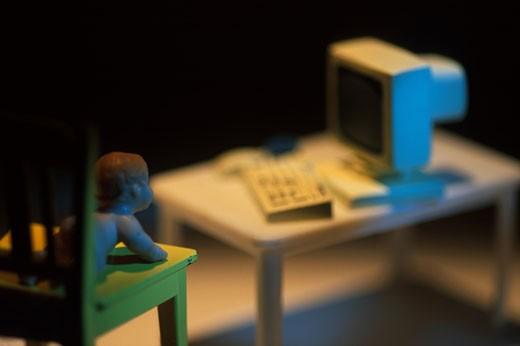 Baby Watching Computer Screen : Stock Photo