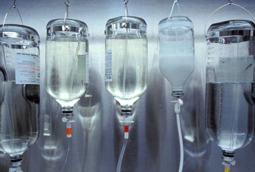 IV Bottles Hanging Up : Stock Photo