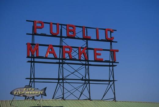 Stock Photo: 1525R-46120 Public Market Sign