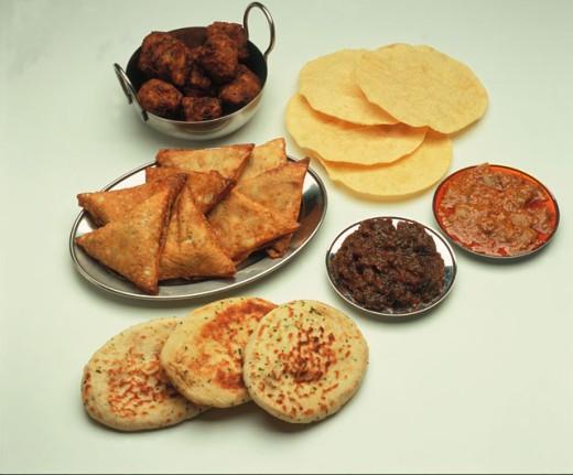 Stock Photo: 1525R-4782 various indian food items