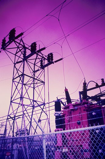 Stock Photo: 1525R-50407 Power Plant Tower and Transformers