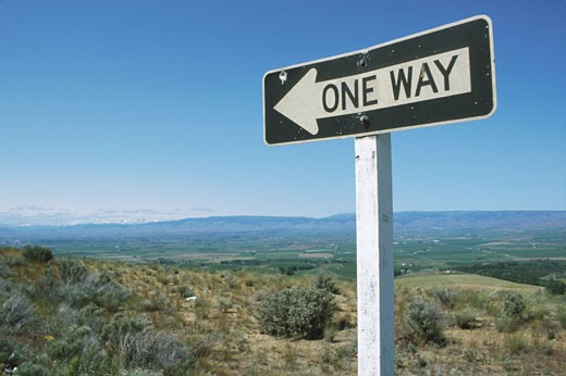 Stock Photo: 1525R-51695 One Way Street Sign