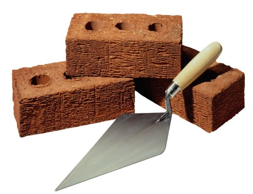 Photograph of trowel and bricks. : Stock Photo