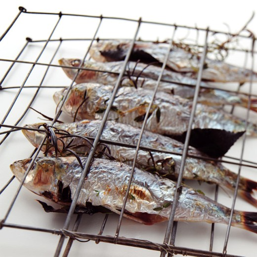Close-up of five herrings in a barbecue grill : Stock Photo