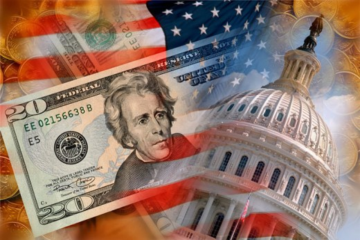 US Flag, Capitol Building and Money : Stock Photo