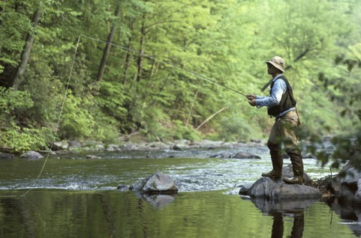 Stock Photo: 1525R-78127 Side profile of a man fishing in a river