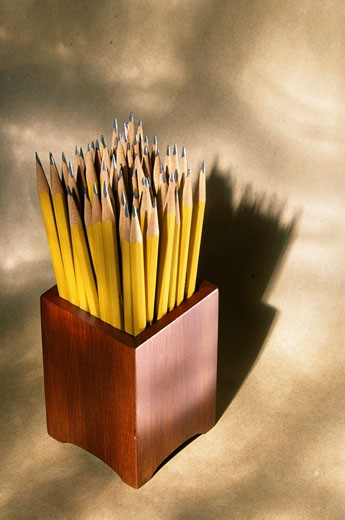 Close-up of pencils in a container : Stock Photo