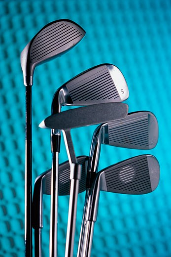 Stock Photo: 1525R-81595 Close-up of golf clubs