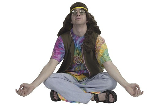 Hippy meditating  : Stock Photo
