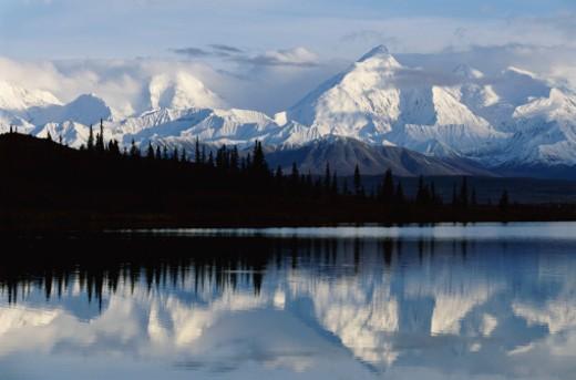 Alaska Range Reflected in Wonder Lake, Denali National Park, Alaska, USA : Stock Photo