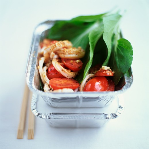 Chinese Take Away Boxes With Squid, Tomato and Pak Choi : Stock Photo
