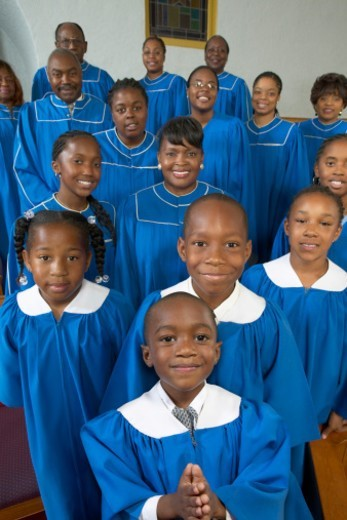 Portrait of a Choir of Gospel Singer Standing in a Church : Stock Photo