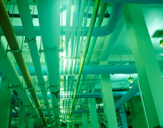 Pipelines in a Geothermal Power Station : Stock Photo