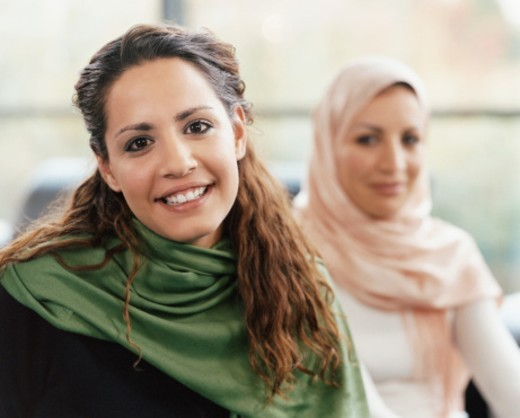 Portrait of Two Young Women Wearing Shawls and a Headscarf : Stock Photo