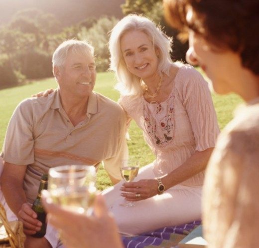 Senior Couple Have a Picnic in the Park With Their Friend : Stock Photo