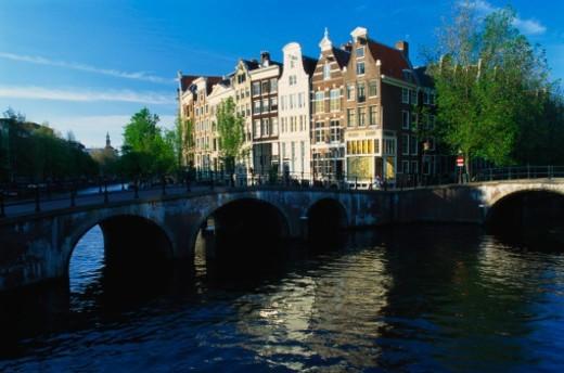 Bridge over a Canal, Keizersgracht, Amsterdam, Netherlands : Stock Photo