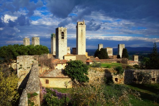 Stock Photo: 1527R-014271 Towers of the Duomo Church, San Gimignano, Tuscany, Italy