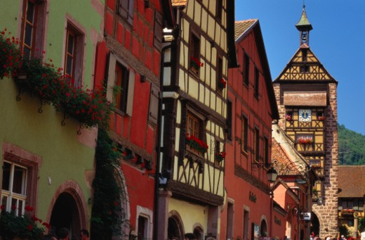 Stock Photo: 1527R-014432 Dolder Tower, Riquewihr, Alsace, France