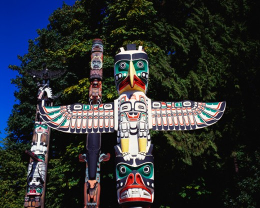 Totem Poles, Stanley Park, Vancouver, Canada : Stock Photo