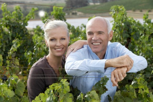 Stock Photo: 1527R-019604 Portrait of a Smiling, Senior Couple Standing in a Vineyard