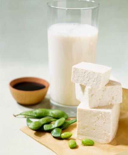 Still Life With a Glass of Milk, Feta Cheese, Beans and a Bowl of Soy Sauce : Stock Photo