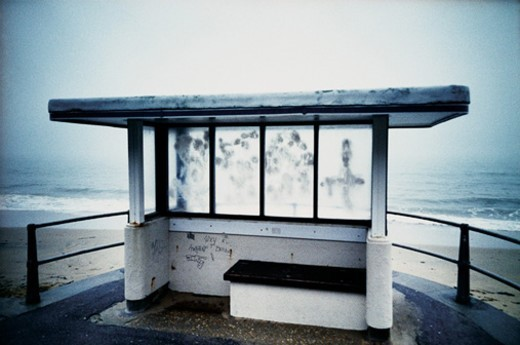 Isolated Bus Shelter on Bournemouth Beach, United Kingdom : Stock Photo
