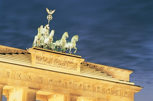 High Section View of the Brandenburg Gate, Berlin, Germany : Stock Photo