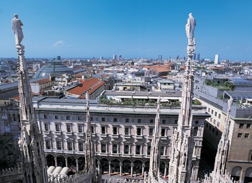 Cityscape From the Roof of the Duomo, Milan, Italy : Stock Photo