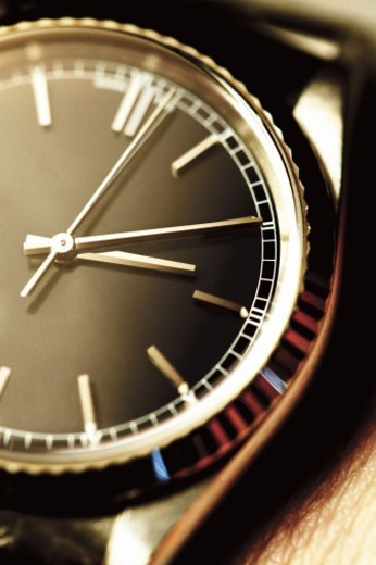 Close-Up of Second, Minute and Hour Hands on a Wristwatch : Stock Photo