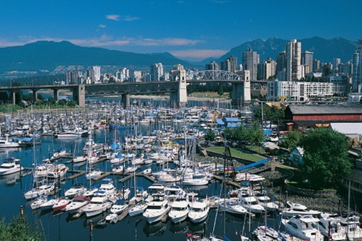 Sailing Yachts in the Marina on Granville Island, Vancouver, Canada : Stock Photo