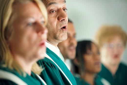 Five Choristers Singing : Stock Photo
