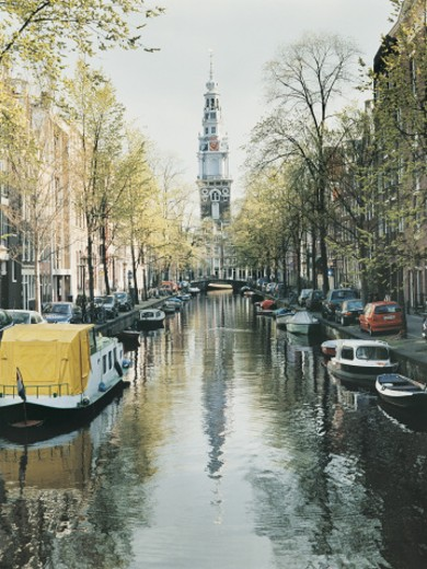 Stock Photo: 1527R-0888 Canal and Moored Boats, Amsterdam, Netherlands