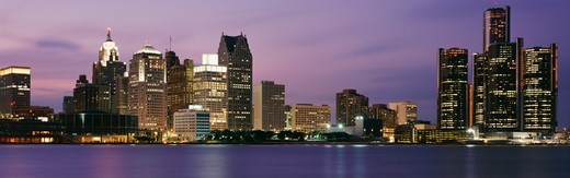 Stock Photo: 1527R-09876 Detriot Skyline at Twilight, Michigan, USA
