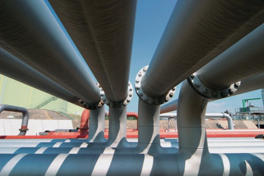 Pipelines in an Oil Refinery : Stock Photo