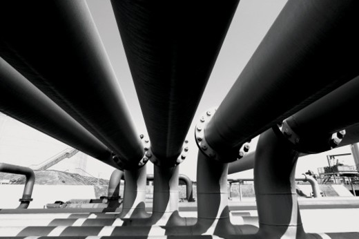 Black and White Shot of Pipelines at an Oil Refinery : Stock Photo