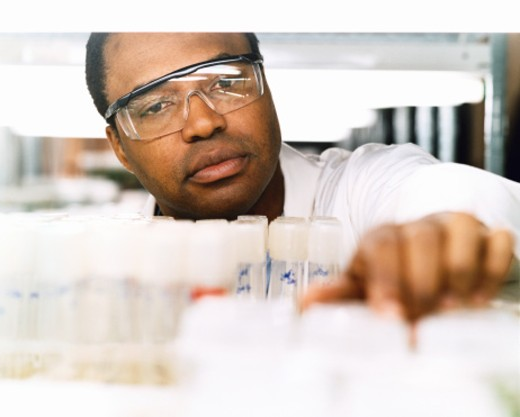Stock Photo: 1527R-1078654 Scientist Looking at Test Tubes