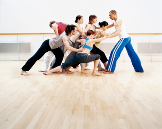 Stock Photo: 1527R-1078767 Group of Dancers Working Together